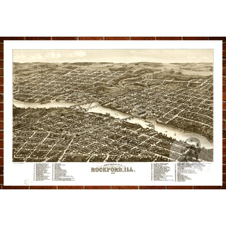 Ted's Vintage Art Map of Rockford, IL 1880; Old Illinois Decor 12