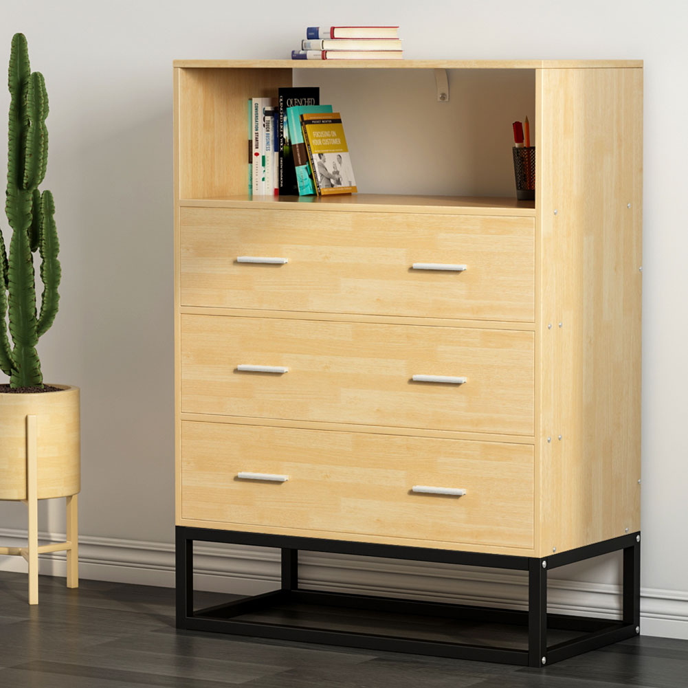 3-Drawer Dresser, LITTLE TREE Tall Accent Chest with Open Storage, Works as File Cabinet & Collection Suitable for Bedroom or Office, Oak (3-Drawer Dresser)