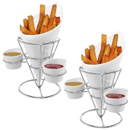 Gibson (2 Pack) Ceramic French Fry Holder & Ketchup Cups Set, Fries Cone Basket Stand & Sauce Serving - Construction Cone Cups