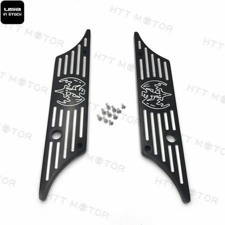 CNC Hard Billet Aluminum Saddlebag Latch Cover Bat For Harley Touring 93-13 Black