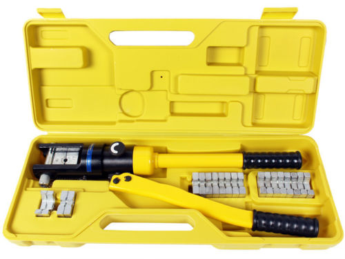 TMS 16 Ton Hydraulic Wire Battery Cable Lug Terminal Crimper Crimping Tool 11 Dies by