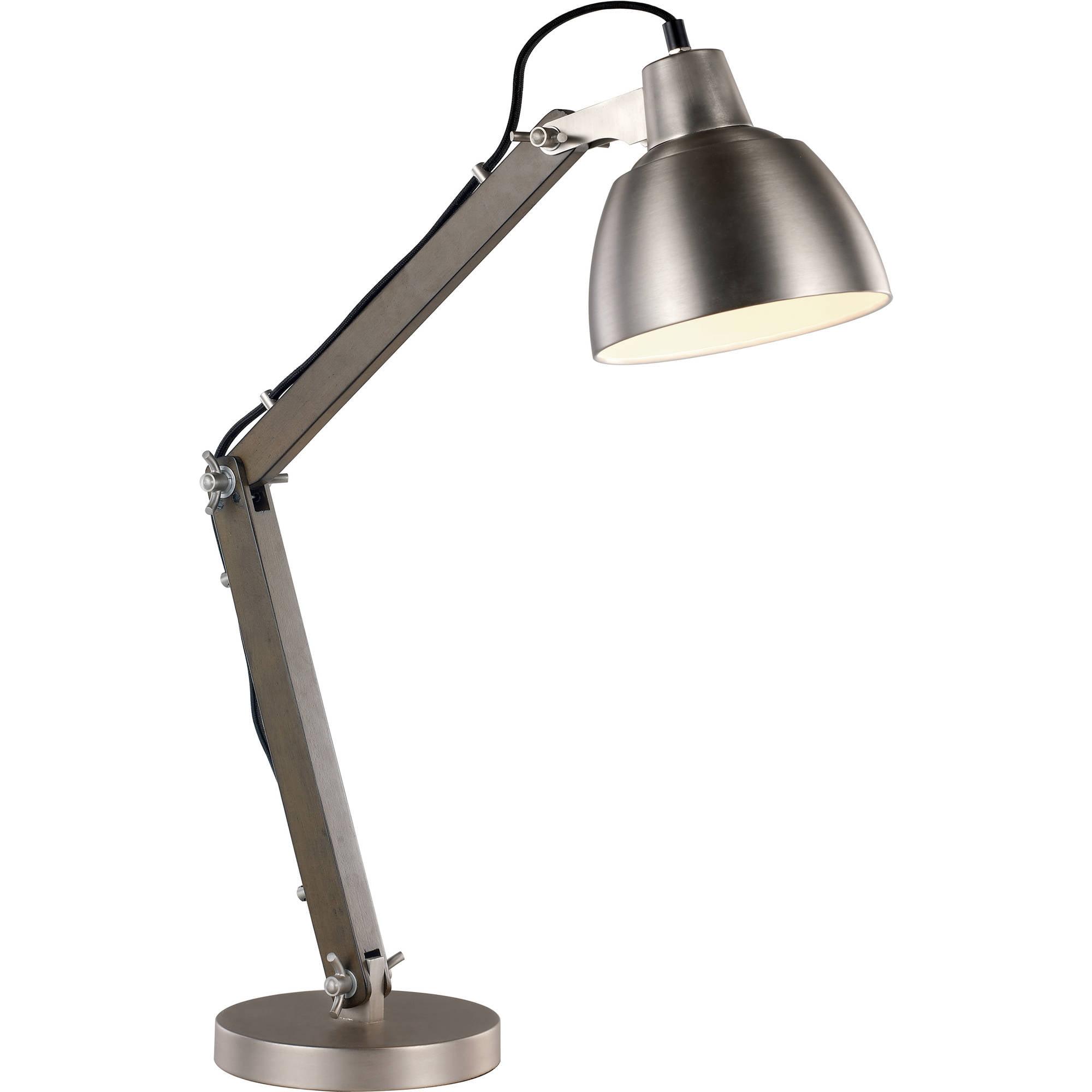 Bel Air Classic Industrial Task Table Lamp Satin Nickel Wood
