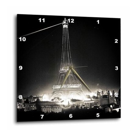 3dRose Eiffel Tower Illuminated Paris Exposition 1900 Black and White, Wall Clock, 10 by 10-inch