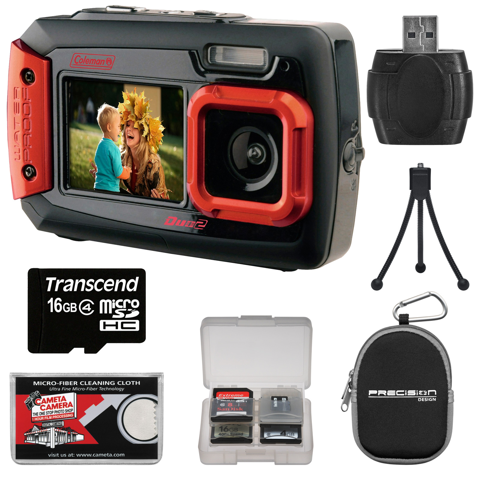Coleman Duo 2V9WP Dual Screen Shock & Waterproof Digital Camera (Red) with 16GB Card + Case + Kit