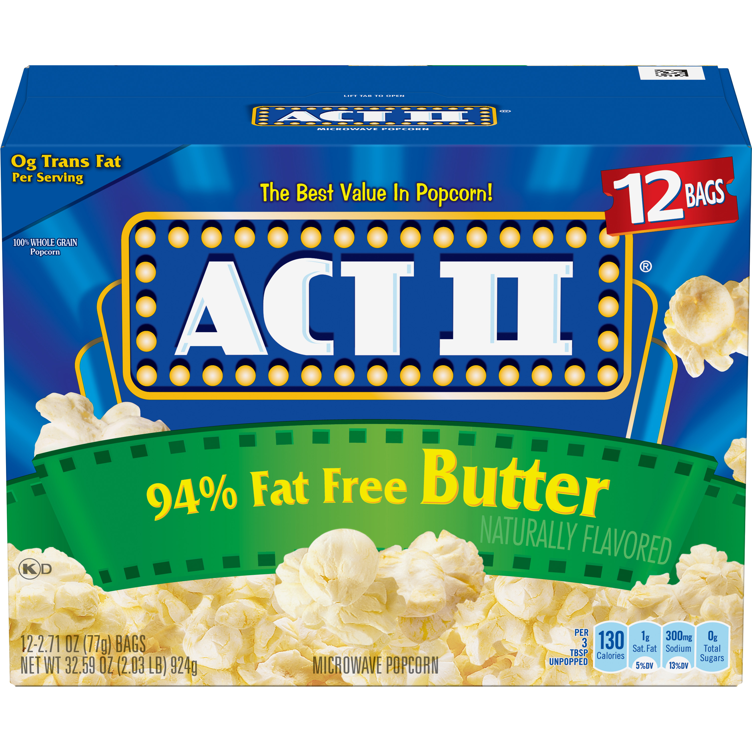 (4 Pack) ACT II Microwave Popcorn, 94% Fat Free Butter, 2.71 Oz, 12 Ct