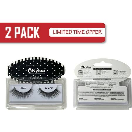2 Pack Nylea Reusable Adhesive Glue Fake Eyelashes Pair Natural Looking Lash Extension Beautiful Long Thick Makeup Lashes - 4 (Best Way To Remove Fake Eyelashes)