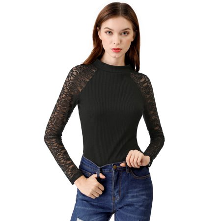 Unique Bargains Women's Lace Tops Long Sleeve Ribbed Fitted Turtleneck Sweater Top (Size L / 14) Black
