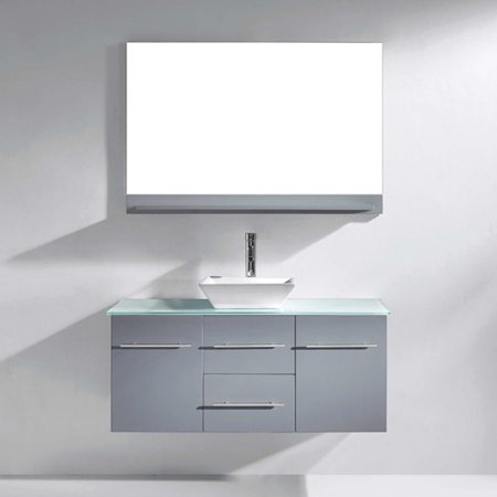 Virtu Usa Ultra Modern 47 Single Bathroom Vanity Set With Tempered Glass Top And Mirror