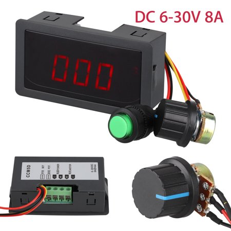 TSV Digital Display LED 6-30V 8A Low Voltage DC Motor Speed Controller PWM 16kHz Stepless Speed Control