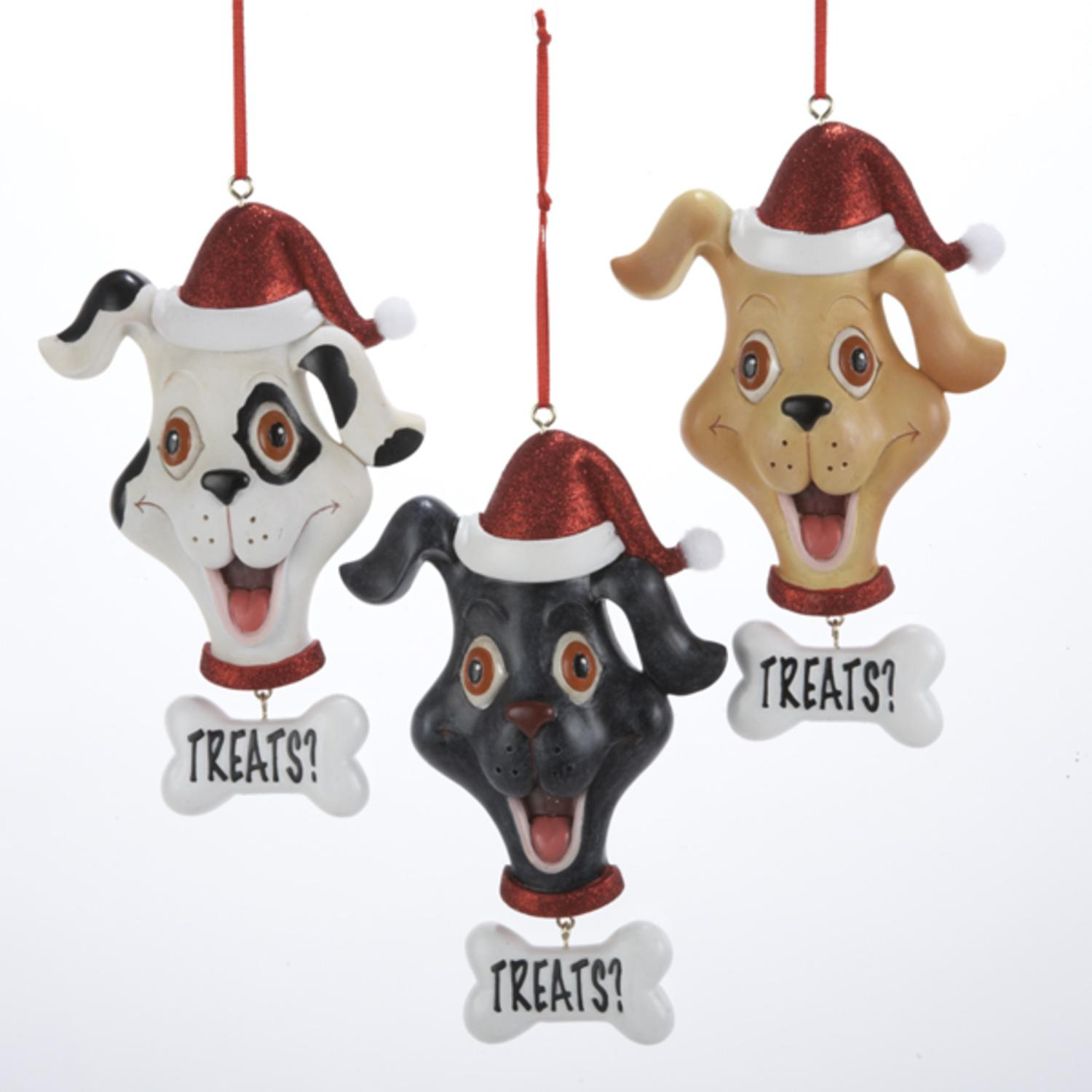 "Club Pack of 12 Dog in Santa Hat ""Treats?"" Christmas Pendant Ornaments 5"""