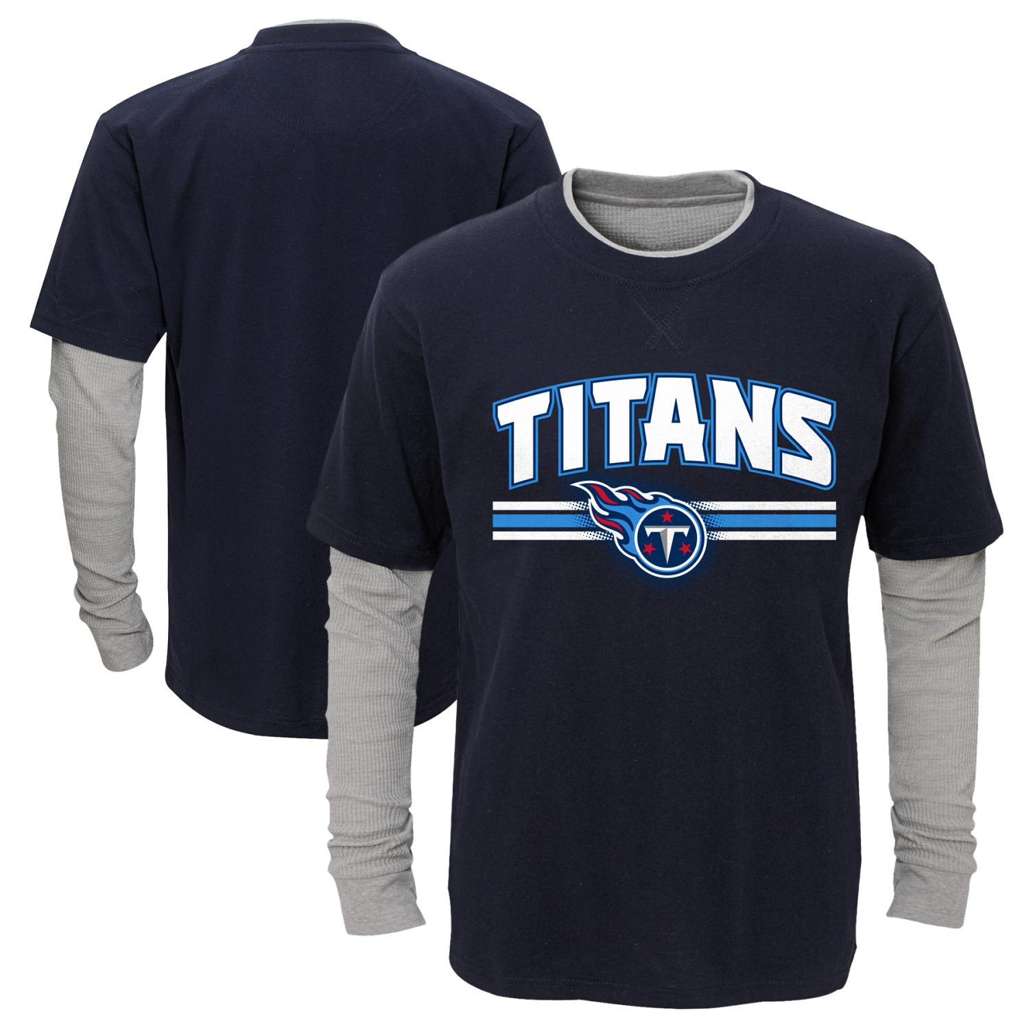 "Tennessee Titans Youth NFL ""Bleachers"" L/S Faux Layer Thermal Shirt"