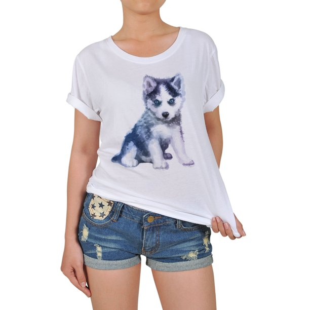 Dog Hand Painted Watercolor-4 Printed 100% Cotton T-shirt WTS_12 M