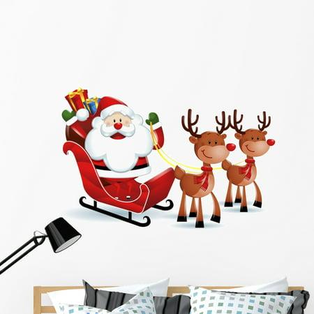 Santa Claus Riding Sleigh Wall Decal Wallmonkeys Peel and Stick Holida