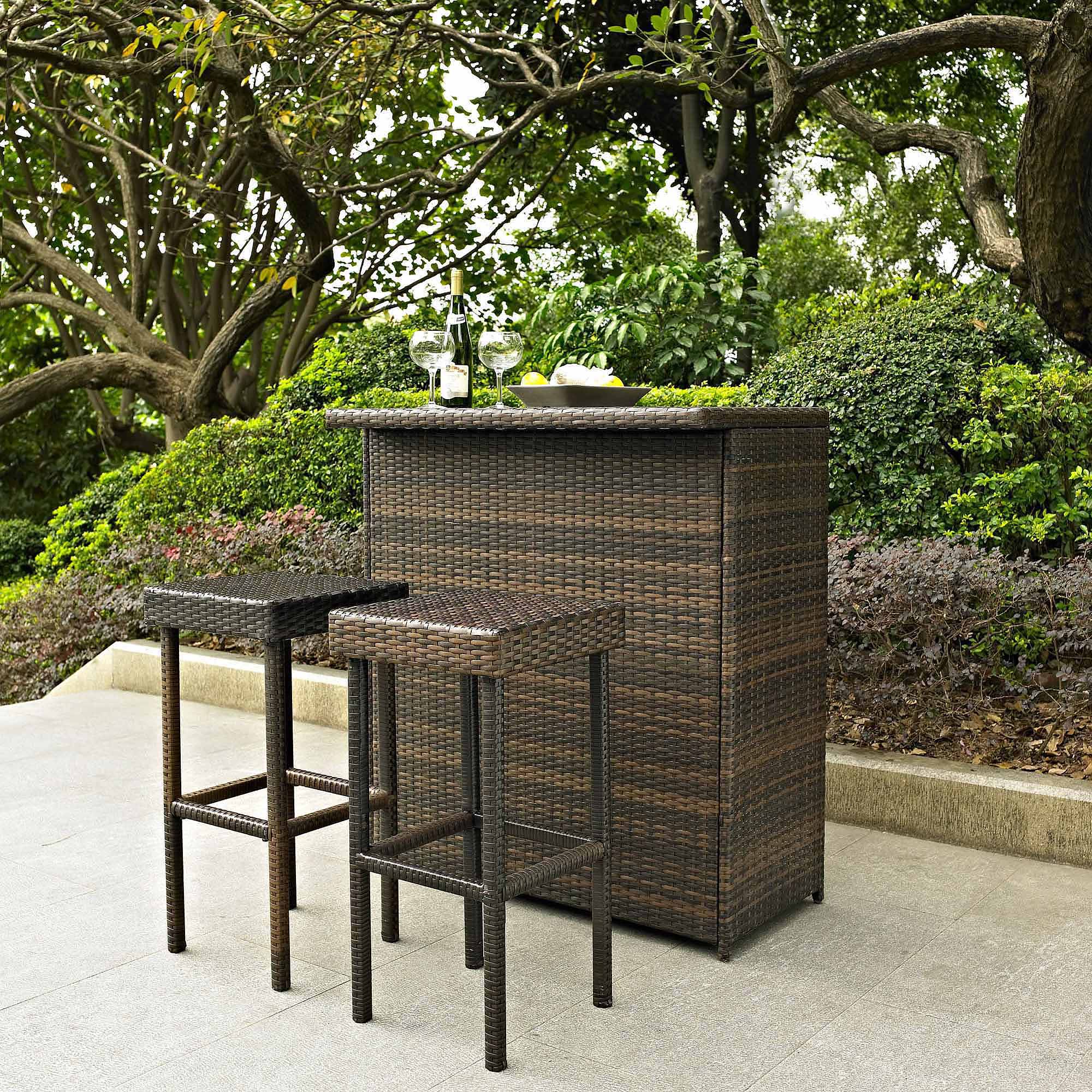 Crosley Furniture Palm Harbor 3-Piece Outdoor Wicker Bar Set
