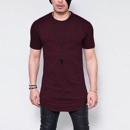 Mens Short Sleeve T Shirt Slim Fit Casual Blouse Tops Summer Clothing Muscle Tee Wine Red M