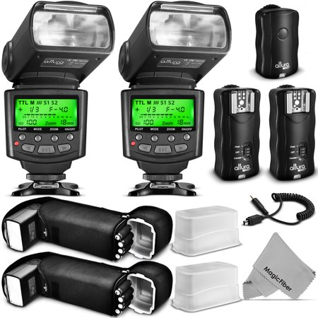 Altura Photo Studio Pro Flash Kit for NIKON DSLR Bundle with 2pcs I-TTL Flash AP-N1001, Dual Wireless Flash Trigger Set and