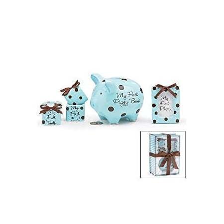 Baby Boy 4 Piece Keepsake Gift Set With Piggy Bank, First Tooth Box,First Curl Box and Photo Frame - Boys Piggy Banks