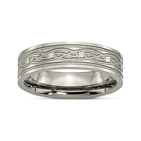 Designer Titanium Flat Laser Etched Celtic Knot 6Mm Polished Band (Width=6.00) Made In China -Jewelry By Sweet Pea Creations