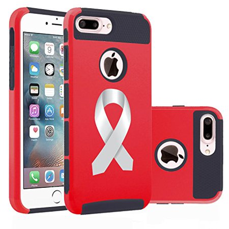 For Apple (iPhone 8 Plus) Shockproof Impact Hard Soft Case Cover Diabetes - Brain Cancer - Parkinson's Disease - Lung Cancer Color Awareness Ribbon (Red) - Lung Cancer Awareness Color