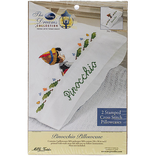 "Disney Dreams 20"" x 30"" Stamped Pillowcases, Pinocchio Wishes Upon A Star"