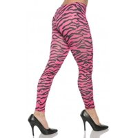 Pink Zebra Womens Adult 80S Dive Dance Rocker Costume Leggings