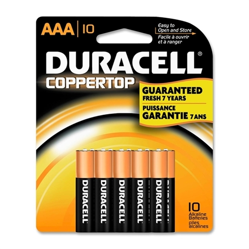 Duracell Coppertop Alkaline Batteries AAA 10 ea