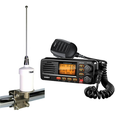 uniden um380bk fixed mount vhf 2 way marine radio and tram 1603 vhf marine antenna black. Black Bedroom Furniture Sets. Home Design Ideas