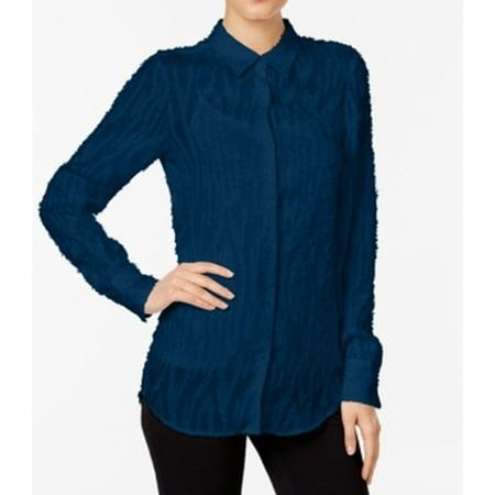 Catherine Malandrino NEW Blue Womens Size Large L Button Down Shirt