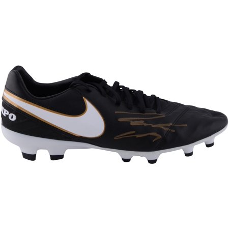 Roberto Carlos Real Madrid Autographed Black and Gold Tiempo Soccer Cleat - ICONS - Fanatics Authentic Certified