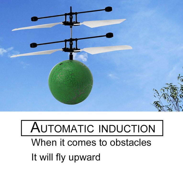 Rc Infrared Induction Helicopter Aircraft Flying Ball With Led Kid Toy Green
