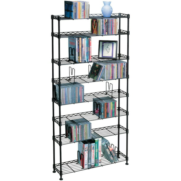 "Atlantic 49"" Maxsteel 8-Tier Heavy Gauge Steel Multimedia Storage Shelf (440 CDs, 228 DVDs, 265 BluRay/ Games) 3020, Black"