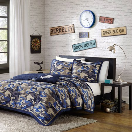 Camouflage 3 Piece Set (Home Essence Teen Liam Camouflage Coverlet Bedding)