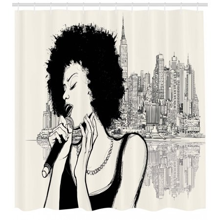 African Shower Curtain, American Jazz Music Girl Performing in front of New York Manhattan Illustration, Fabric Bathroom Set with Hooks, Black Grey, by Ambesonne - Girls In Shower