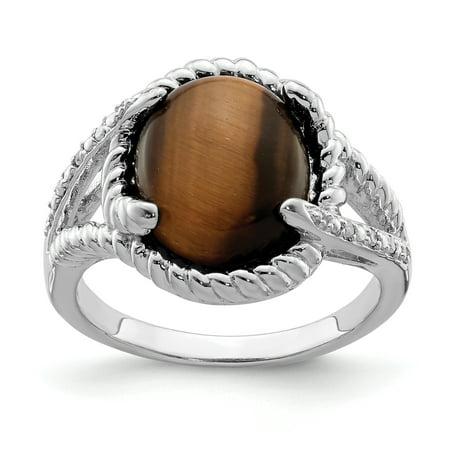 925 Sterling Silver Tigers Eye Quartz Diamond Band Ring Size 7.00 Gemstone For Women