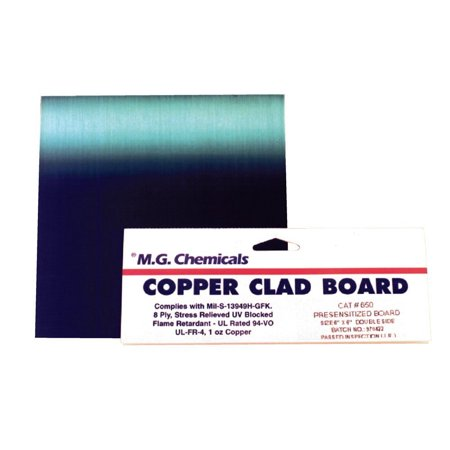 "MG Chemicals 600 Series Positive Presensitized Copper Clad Board with 1 oz Copper, 1/16"" Copper Thick, 2 Side, 9"" Length x 6"" Width, FR4"