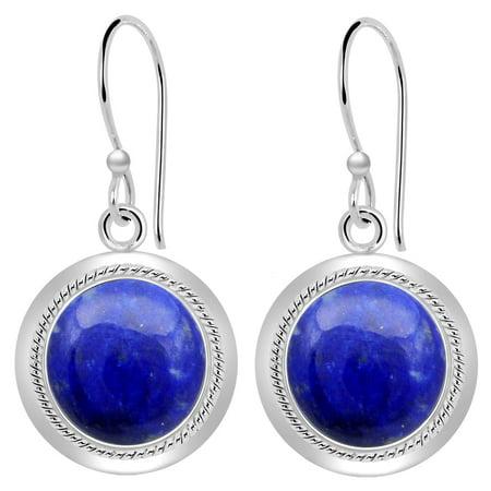 8.5 Carat Pears Briolette Blue Lapis Lazuli Sterling Silver Dangle Earrings