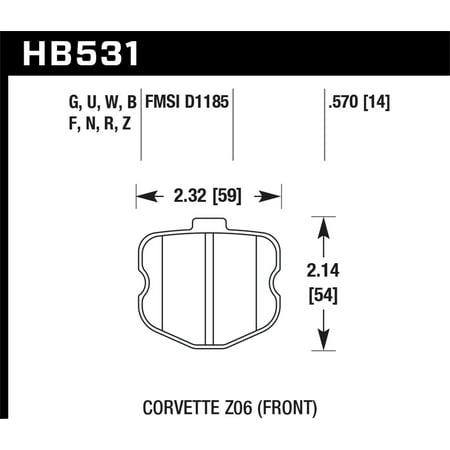 Hawk 06-10 Chevy Corvette (OEM Pad Design) Front HP+ Sreet Brake Pads Chevy Corvette Brake Pad