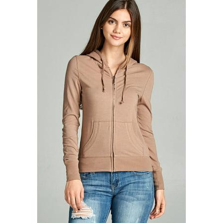 - Cali Chic Womens' Jacket Celebrity Zipper Sweatshirt with Kangaroo Pockets Khaki