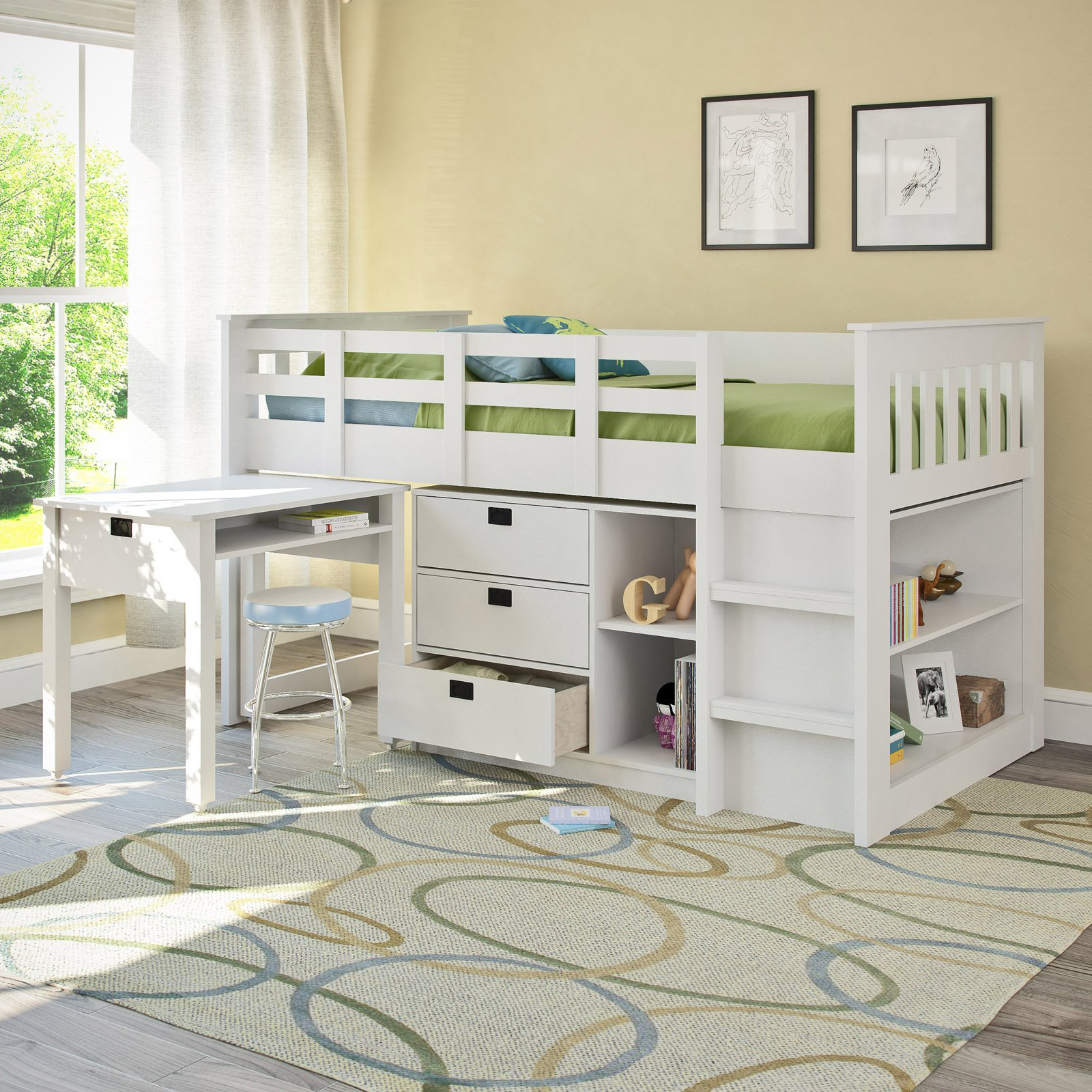 Full loft bed with desk - Corliving Madison Twin Loft Bed With Desk And Storage Multiple Colors Walmart Com