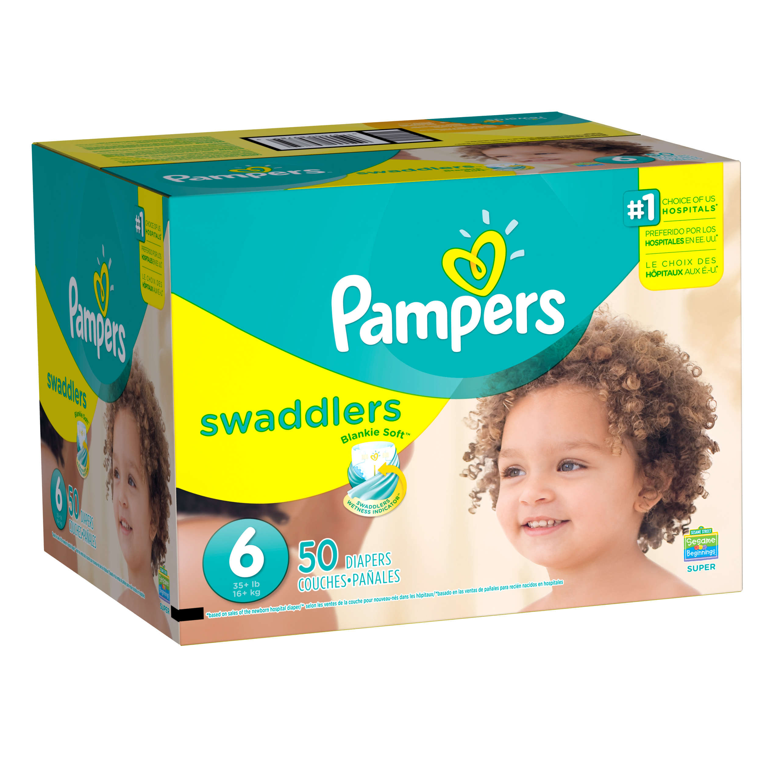 Pampers Swaddlers Diapers, Size 6, 50 Diapers