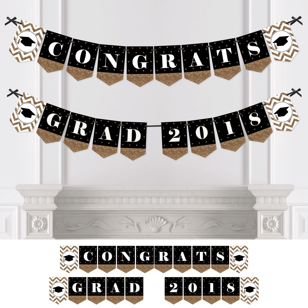 Gold Tassel Worth The Hassle - Graduation Party Bunting Banner - Gold Party Decorations - Congrats Grad 2018