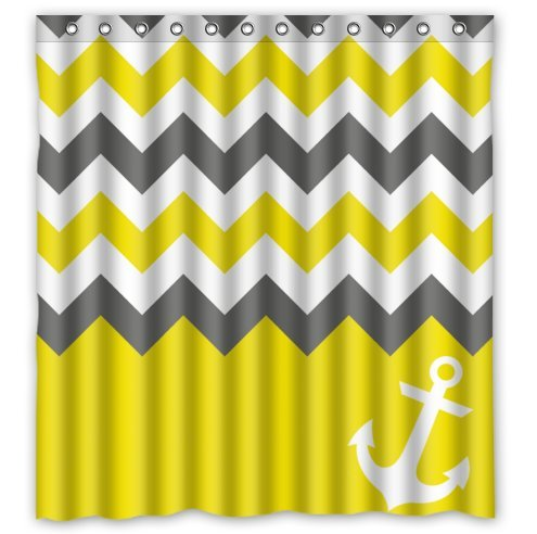 HelloDecor White Grey Yellow Chevron With Anchor Shower Curtain Polyester Fabric Bathroom Decorative Curtain Size 66x72 Inches