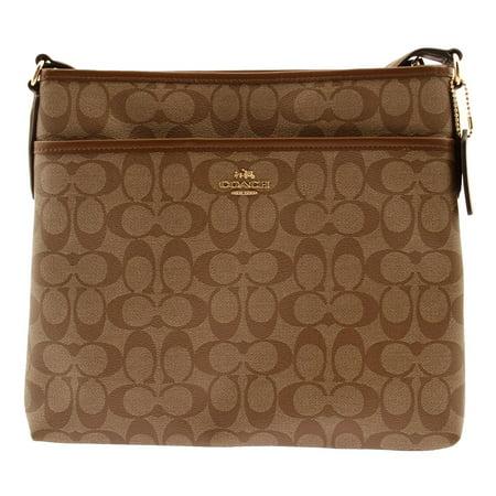 Coach Signature Leather File Bag Crossbody Saddle