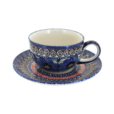 Polish Pottery Blue Art - Polish Pottery Blue Art Cup & Saucer