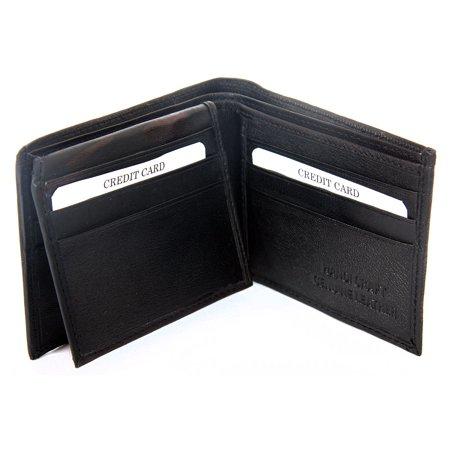 Men's Leather 9 Credit Card ID Window Bifold Double Bill Black Wallet 4.5 x 3.5