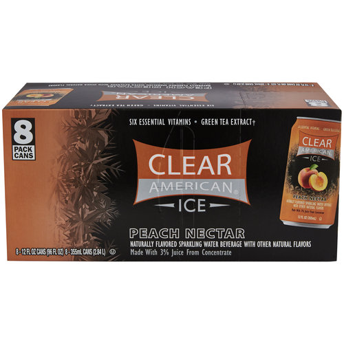 Clear American Ice Peach Nectar Flavored Sparkling Water, 12 fl oz, 8 pack