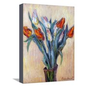 Tulips, 1885 Red Flowers Stretched Canvas Print Wall Art By Claude Monet