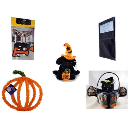 Halloween Fun Gift Bundle [5 Piece] - Trick or Treat Banner 42.5 x 5 Inches - Black Plastic Table Cover  - ADA Trick or Treat Wizard Black Puppy Plush - Plan B Halloween Party
