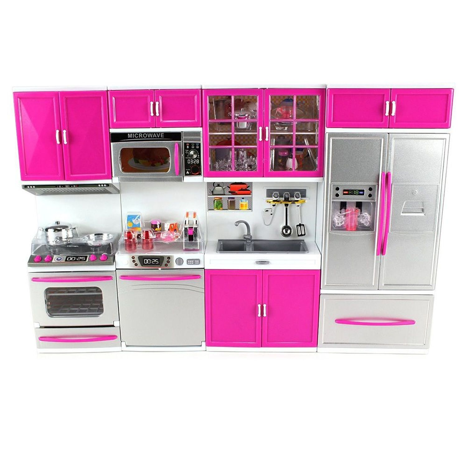 My Modern Kitchen 32 Full Deluxe Kit Battery Operated Kitchen Playset: Refrigerator, Stove, Sink, Microwave (Gift Idea)