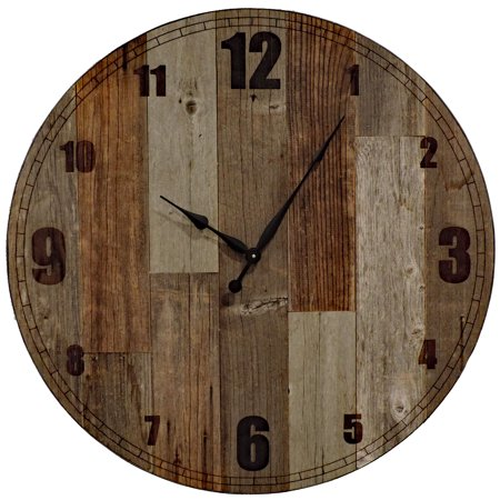 AllBarnWood 36 inch Wooden Extra Large Country, Oversize Farmhouse Kitchen/living room, Giant decorative Brown and Grey Rustic Barn Wood Wall Clock. ()